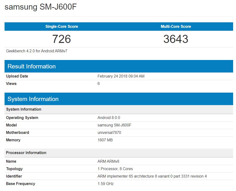 Galaxy J 系列中端新机现身GeekBench 包括J3 J4 J6 J8 - 热点资讯 首页 第3张