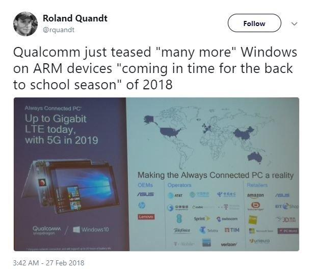高通:5G版Windows 10 ARM笔记本明年推出 - 热点资讯 好物资讯 第3张