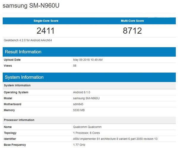 搭载骁龙 845 :三星Note 9 跑分再现 Geekbench - 热点资讯 好物资讯 第2张