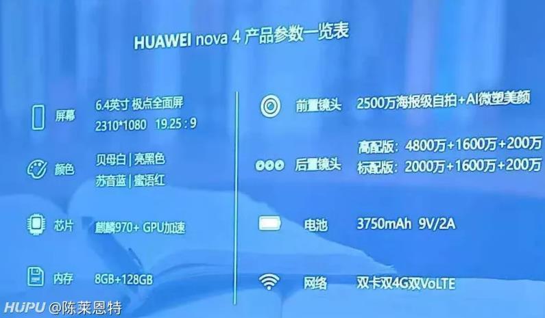 华为 nova 4 配置全曝光:4800 万像素 + 麒麟 970 - 热点资讯