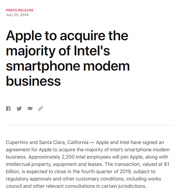 苹果将以 10 亿美元收购英特尔智能手机调制解调器业务 - 热点资讯
