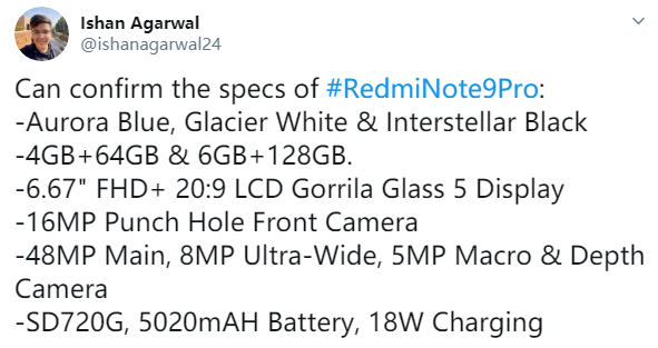 Redmi Note9 Pro 配置曝光:骁龙 720G + 5020mAh 电池 - 热点资讯