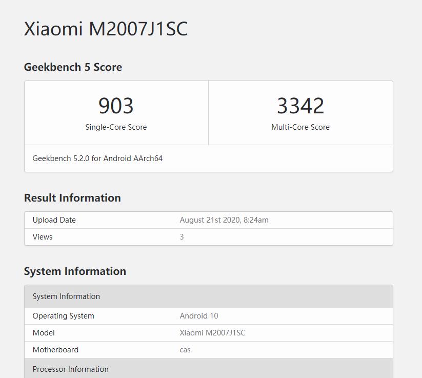 疑似小米CC 10 Pro 跑分曝光:搭载骁龙 865,1 亿像素 - 热点资讯 首页 第1张