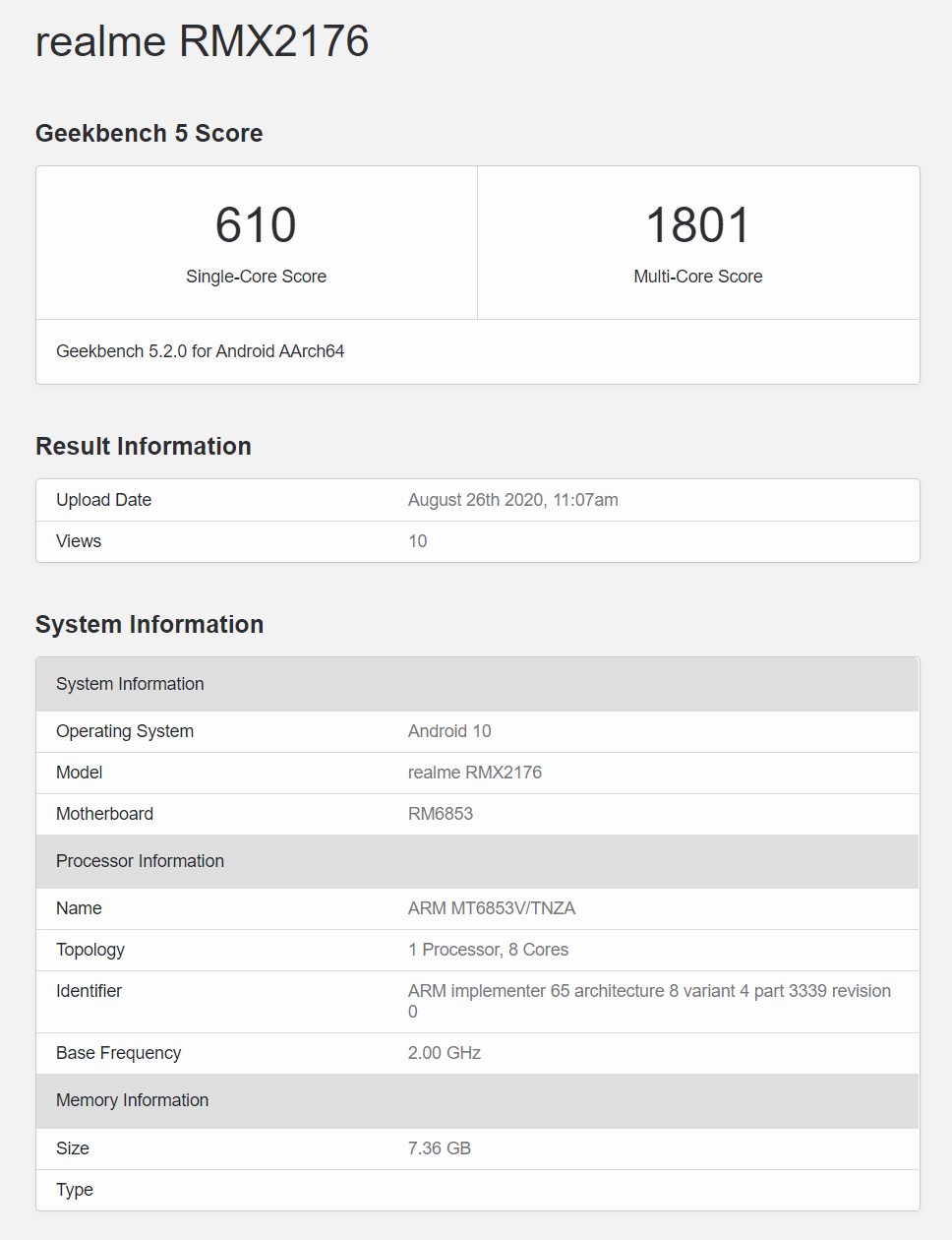 realme 真我 X7 GeekBench 分数曝光,或首发天玑 800U - 热点资讯 首页 第1张
