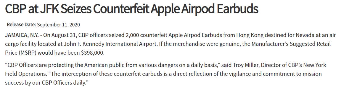 美海关闹乌龙:把OnePlus Buds误认为「假冒AirPods」 - 热点资讯 首页 第1张