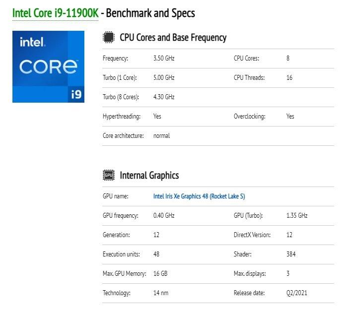 英特尔 i9-11900K 完整参数曝光:8 核 16 线程,睿频 5GHz - 热点资讯 家电百科 第1张