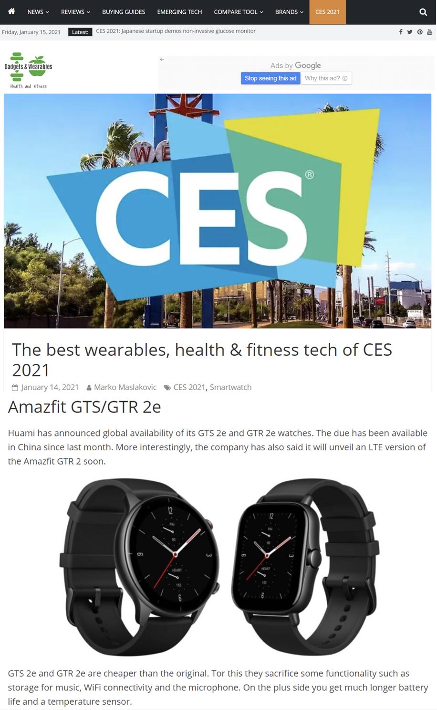 Amazfit GTS 2e亮相 CES 2021,获评最佳智能手表 - 热点资讯 家电百科 第5张